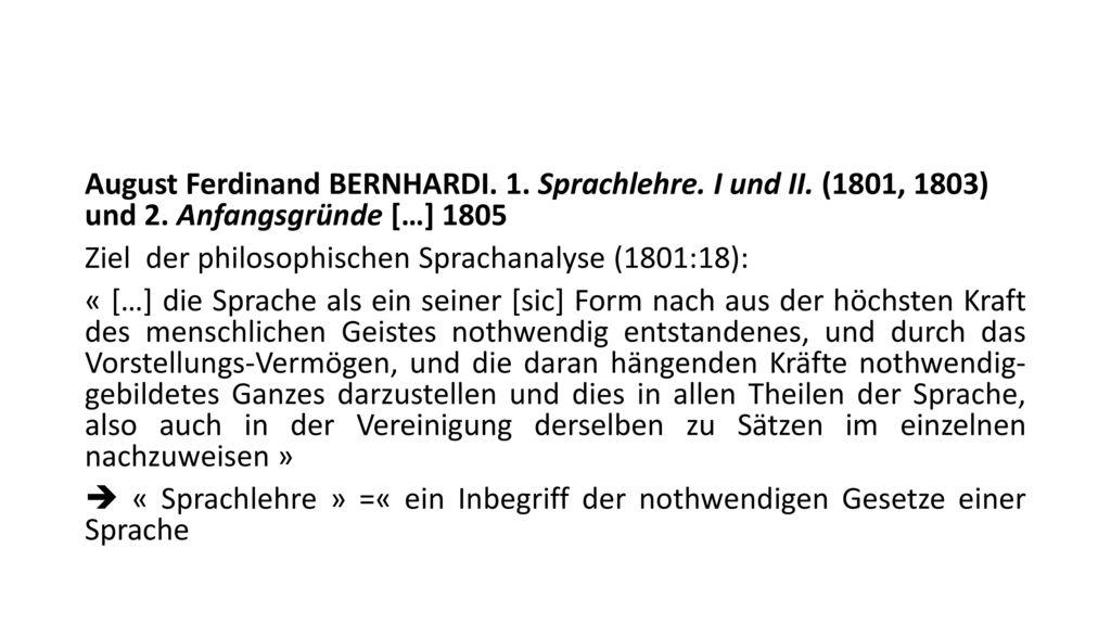 August Ferdinand Bernhardi. 1. Sprachlehre. I und II