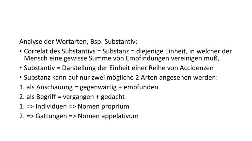 Analyse der Wortarten, Bsp. Substantiv: