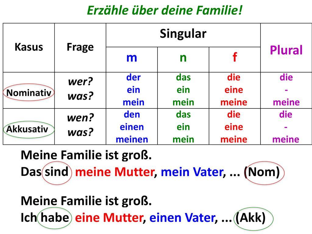 Erzähle über deine Familie! Singular Plural m n f
