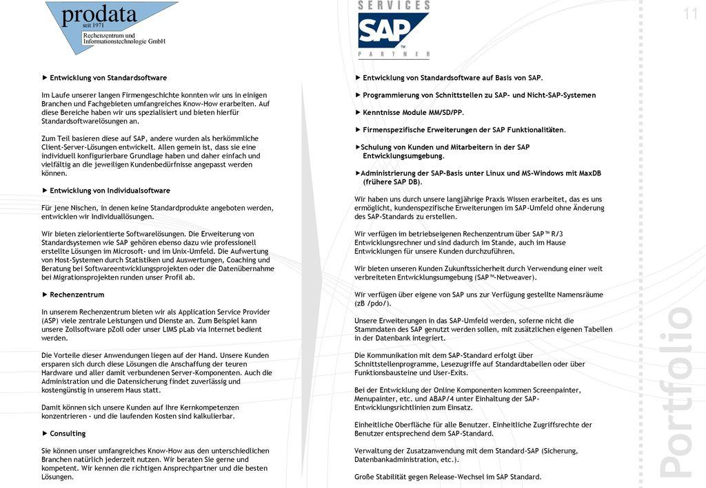 Portfolio 11  Entwicklung von Standardsoftware