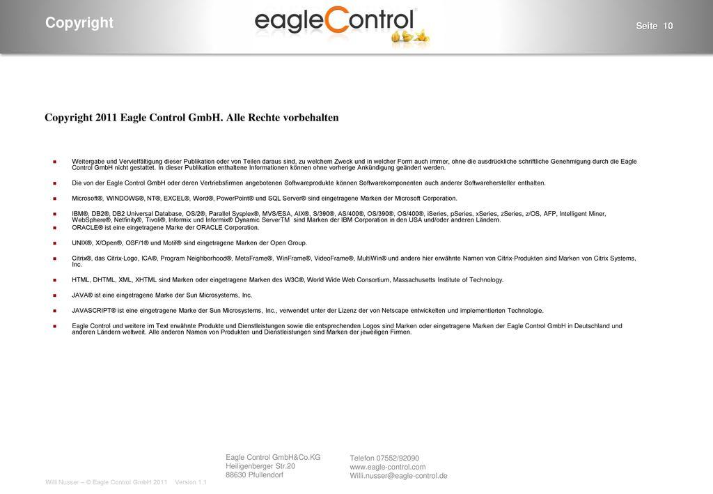 Copyright 2011 Eagle Control GmbH. Alle Rechte vorbehalten