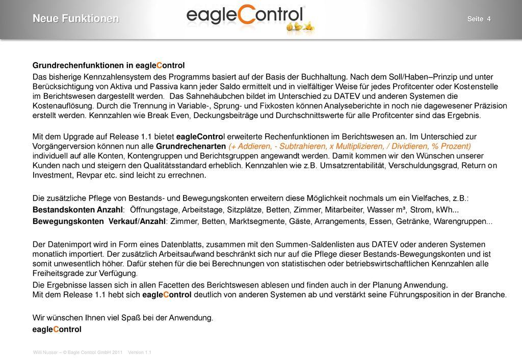 Neue Funktionen Grundrechenfunktionen in eagleControl