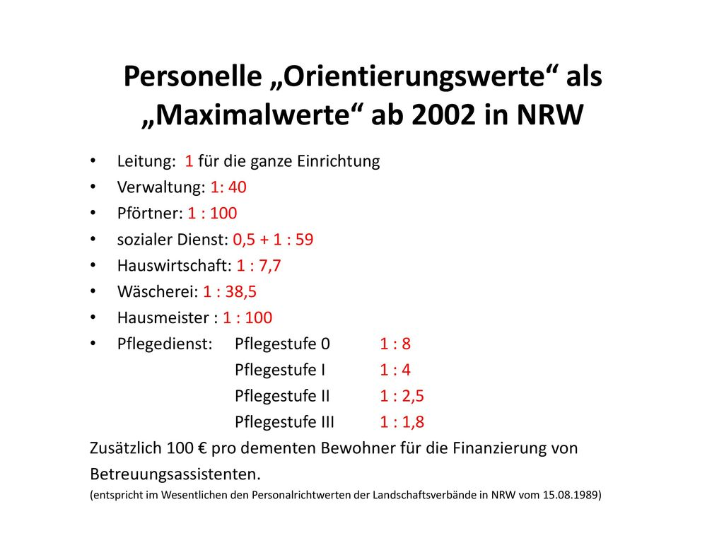"""Personelle """"Orientierungswerte als """"Maximalwerte ab 2002 in NRW"""