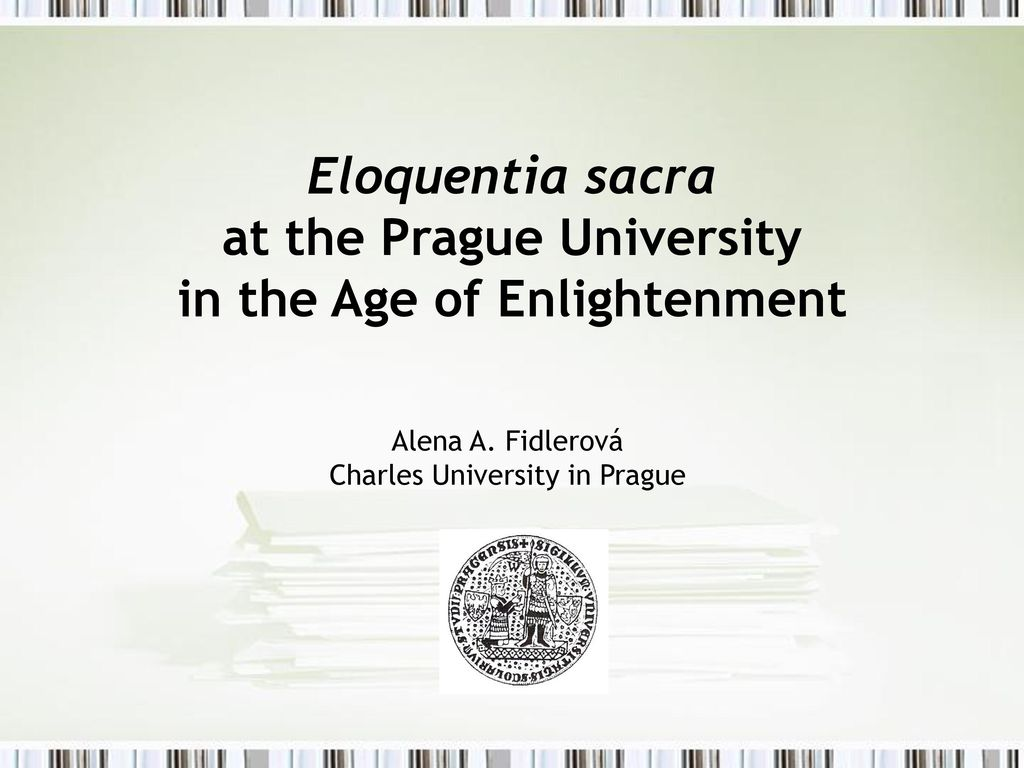 Eloquentia sacra at the Prague University in the Age of Enlightenment