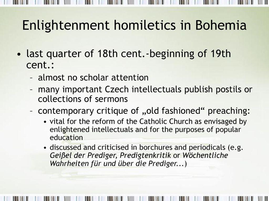 Enlightenment homiletics in Bohemia