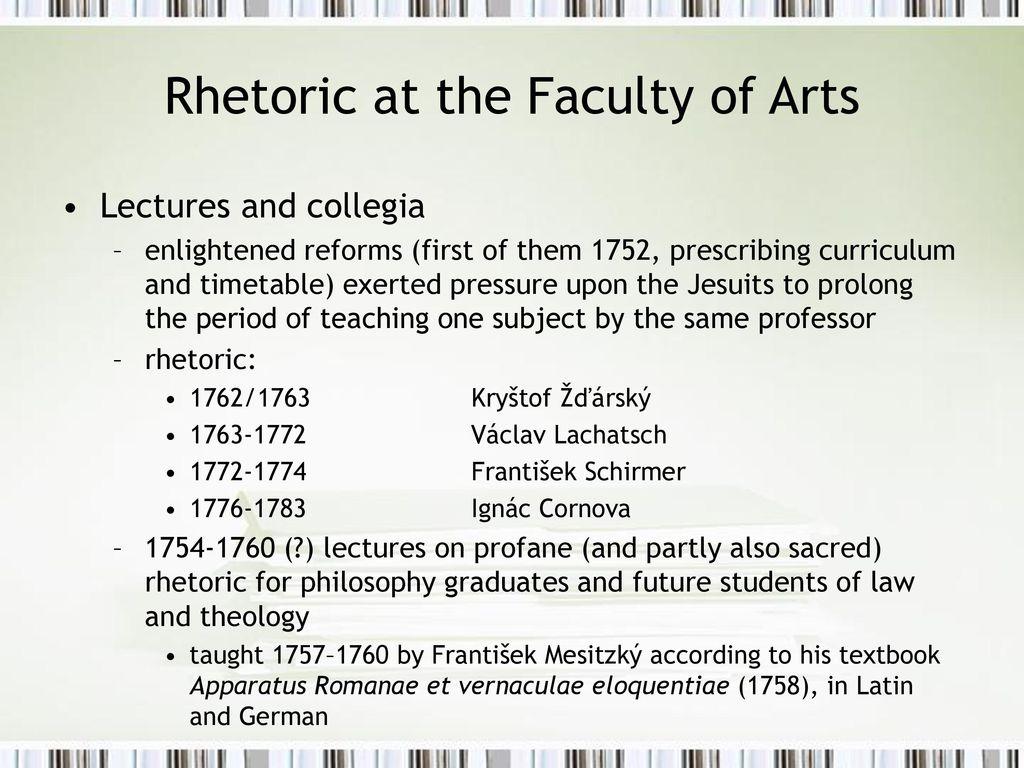 Rhetoric at the Faculty of Arts