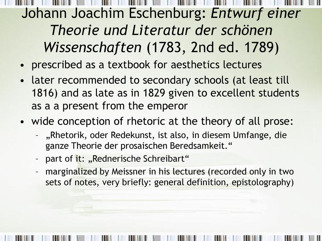 Johann Joachim Eschenburg: Entwurf einer Theorie und Literatur der schönen Wissenschaften (1783, 2nd ed. 1789)