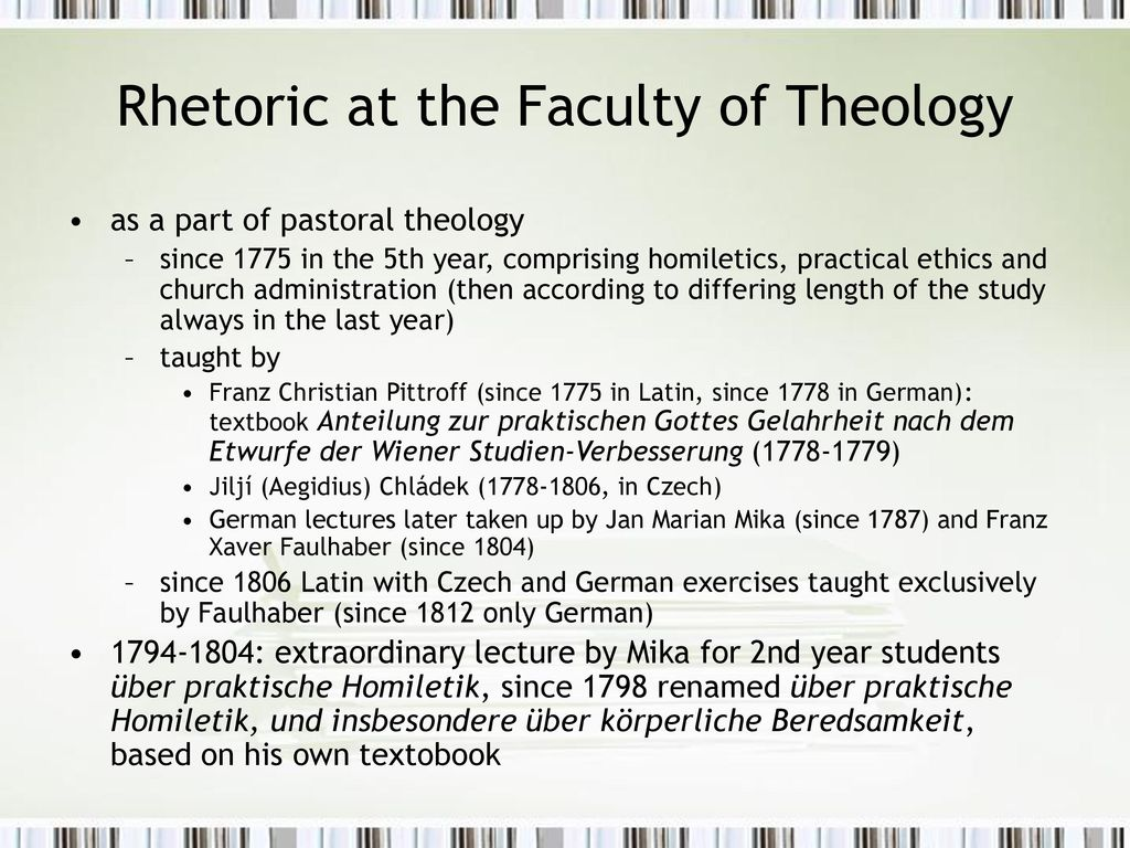 Rhetoric at the Faculty of Theology