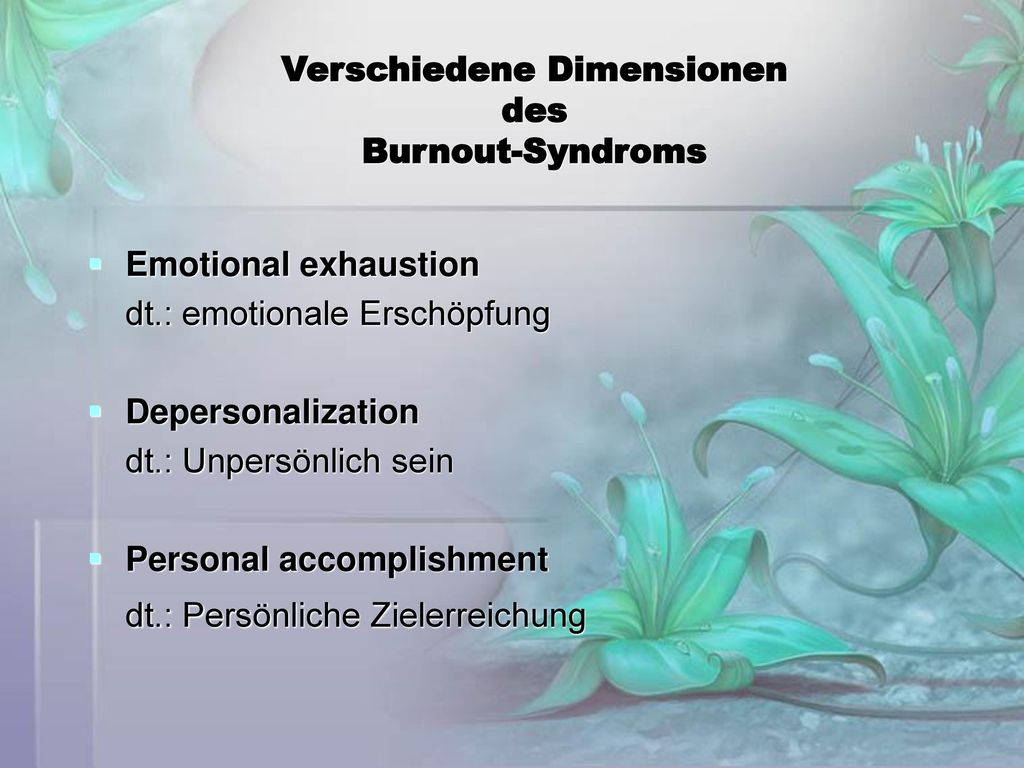Verschiedene Dimensionen des Burnout-Syndroms