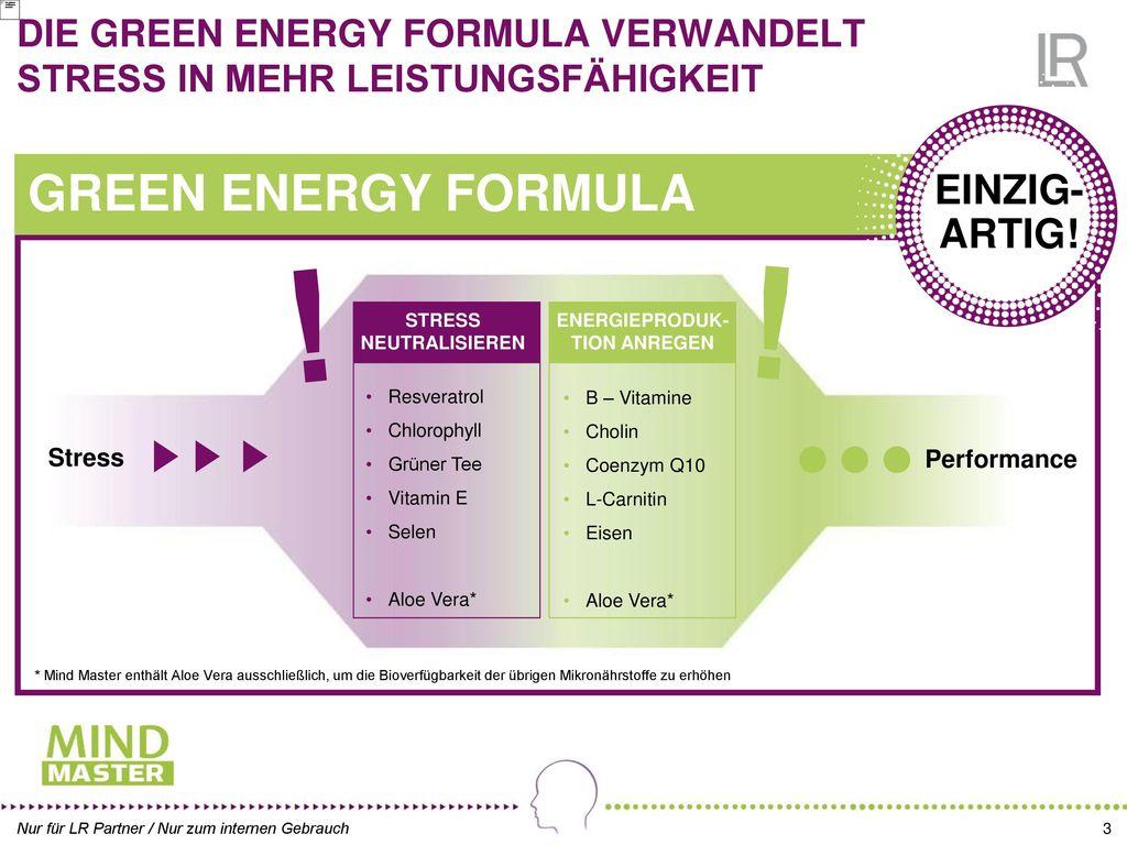 DIE GREEN ENERGY FORMULA VERWANDELT STRESS IN MEHR LEISTUNGSFÄHIGKEIT