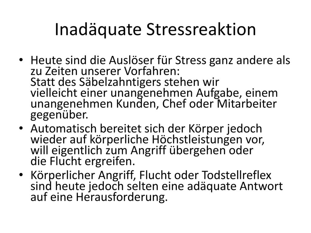 Inadäquate Stressreaktion