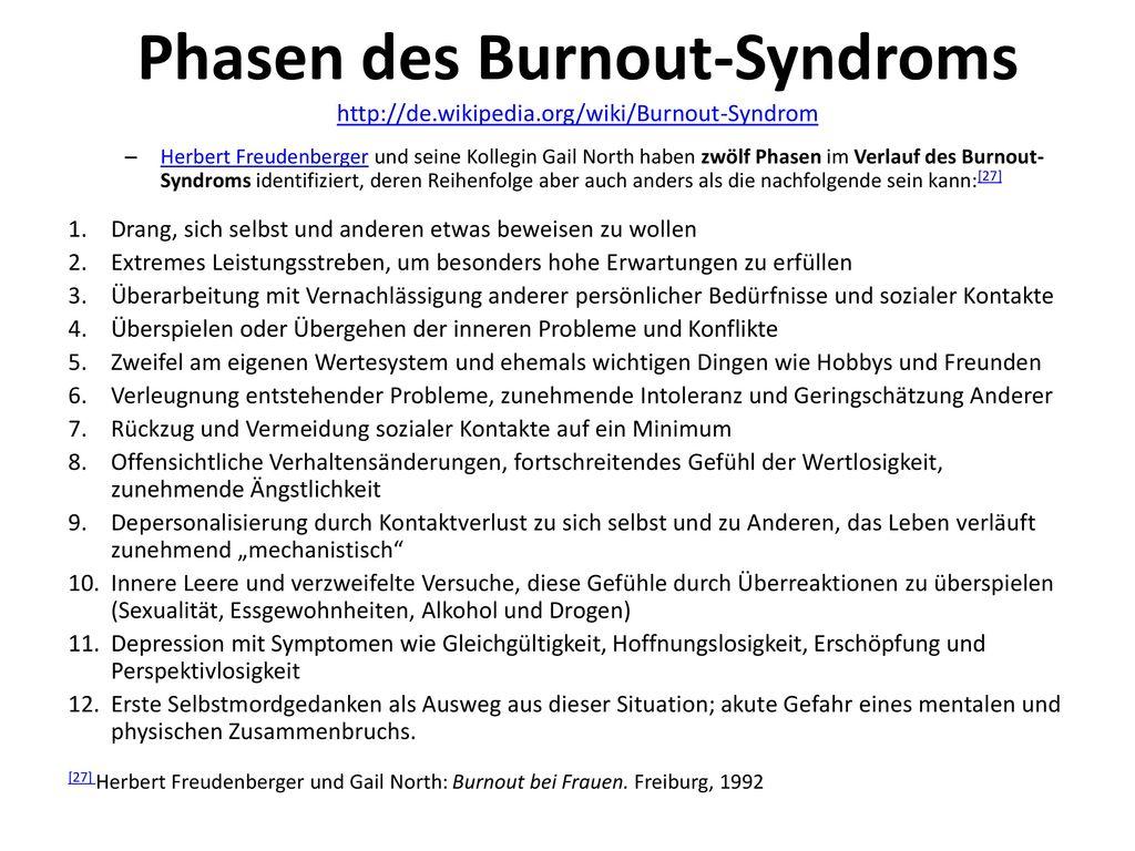 Phasen des Burnout-Syndroms http://de. wikipedia