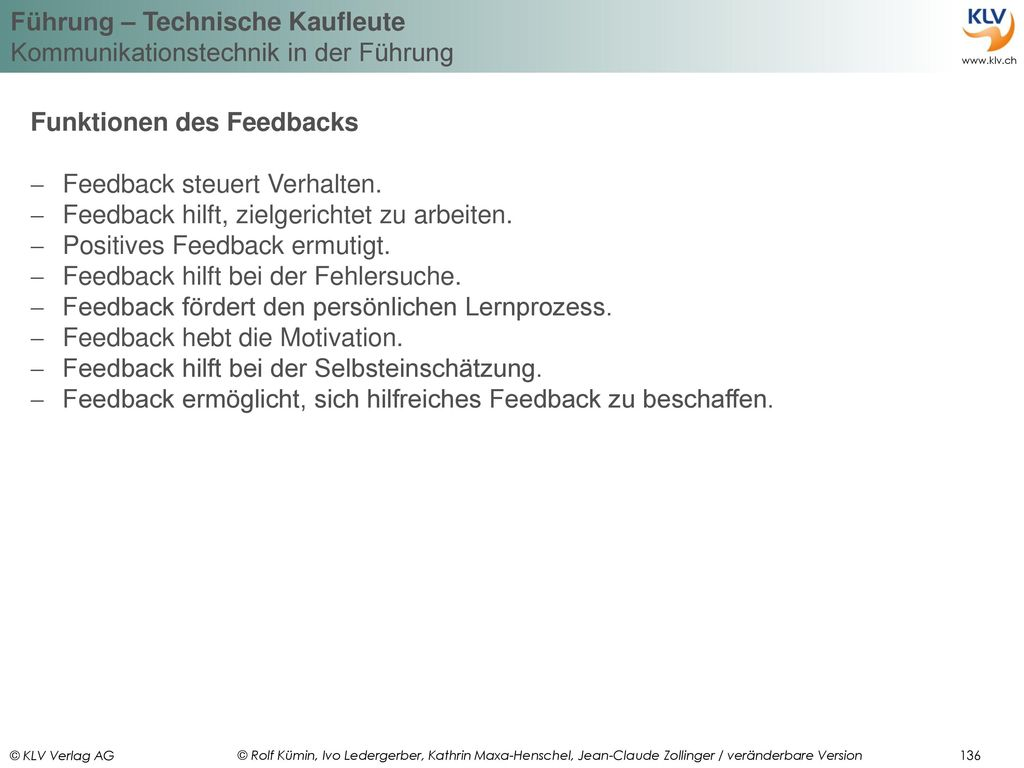 Funktionen des Feedbacks