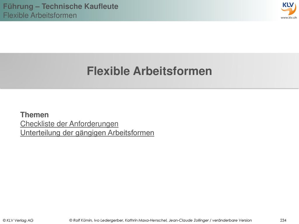 Flexible Arbeitsformen