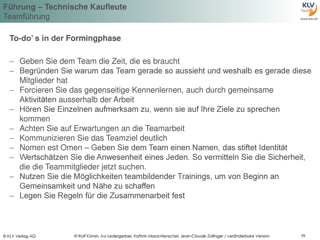 To-do' s in der Formingphase