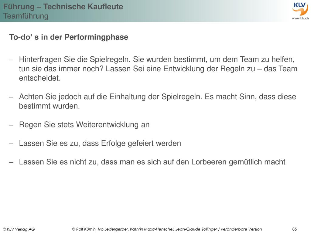 To-do' s in der Performingphase