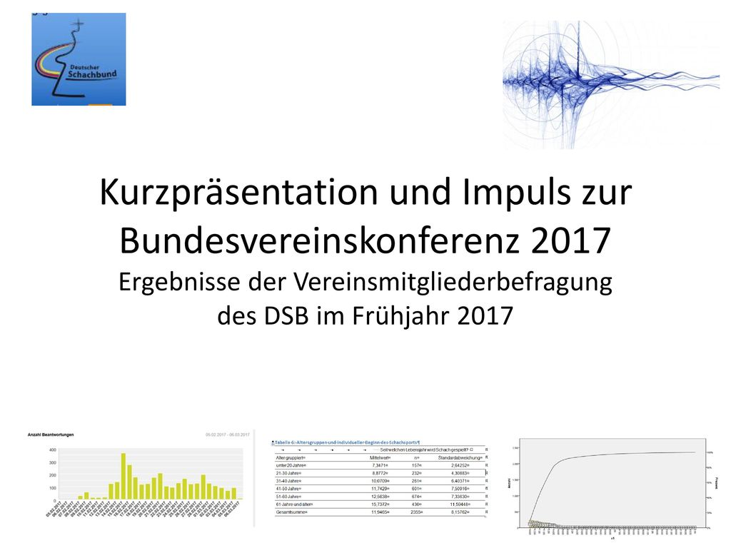 Kurzpräsentation und Impuls zur Bundesvereinskonferenz 2017 Ergebnisse der Vereinsmitgliederbefragung des DSB im Frühjahr 2017
