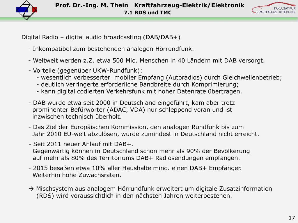 Digital Radio – digital audio broadcasting (DAB/DAB+)