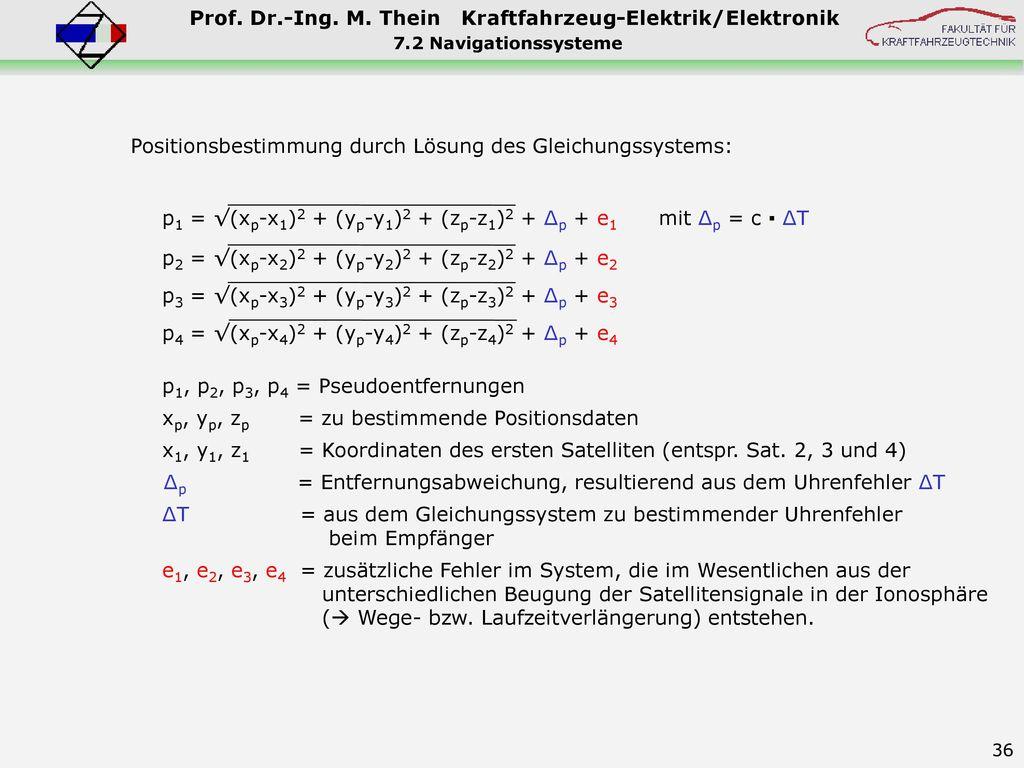 Positionsbestimmung durch Lösung des Gleichungssystems: