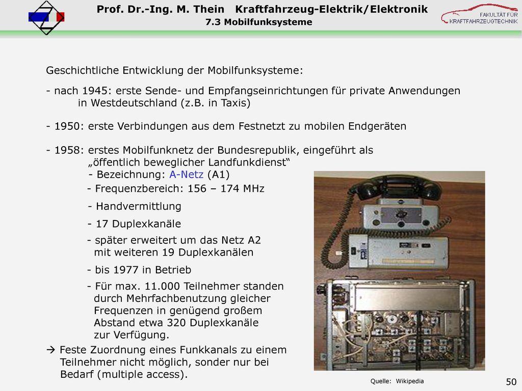 Geschichtliche Entwicklung der Mobilfunksysteme: