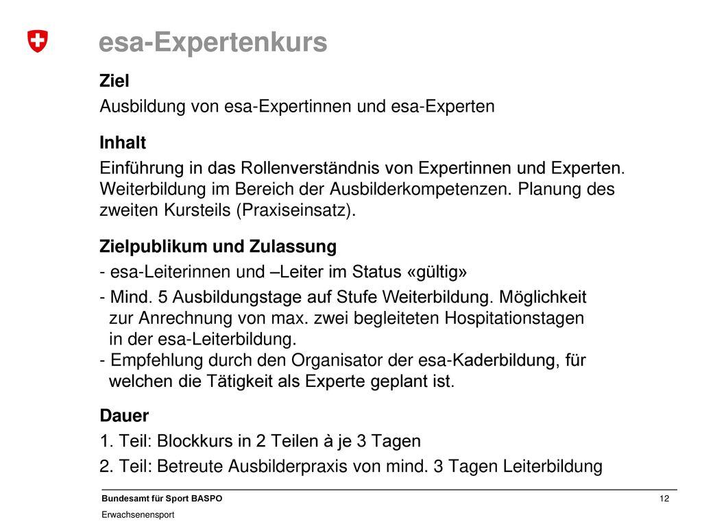esa-Expertenkurs