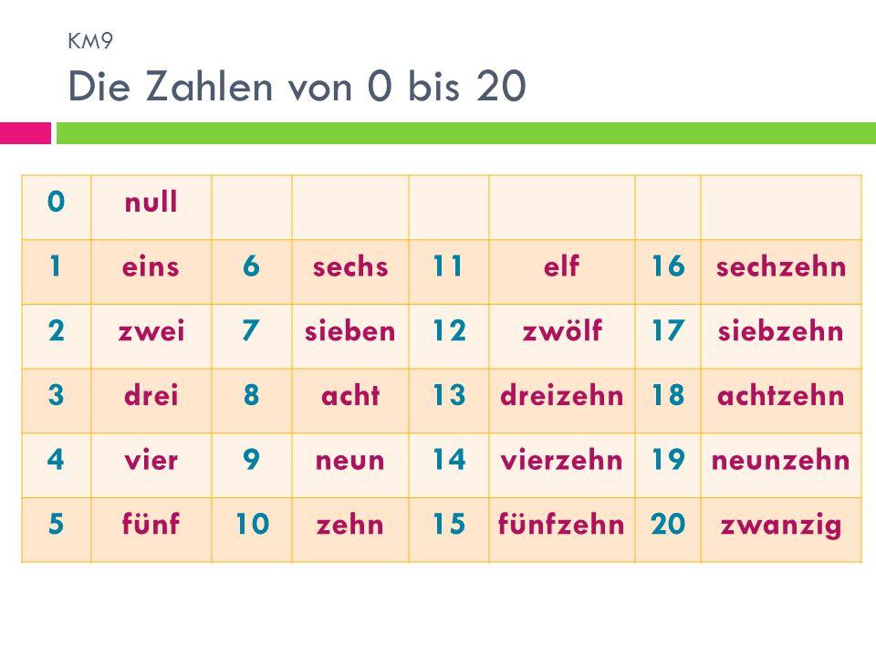 null 1 eins 6 sechs 11 elf 16 sechzehn 2 zwei 7 sieben 12 zwölf 17