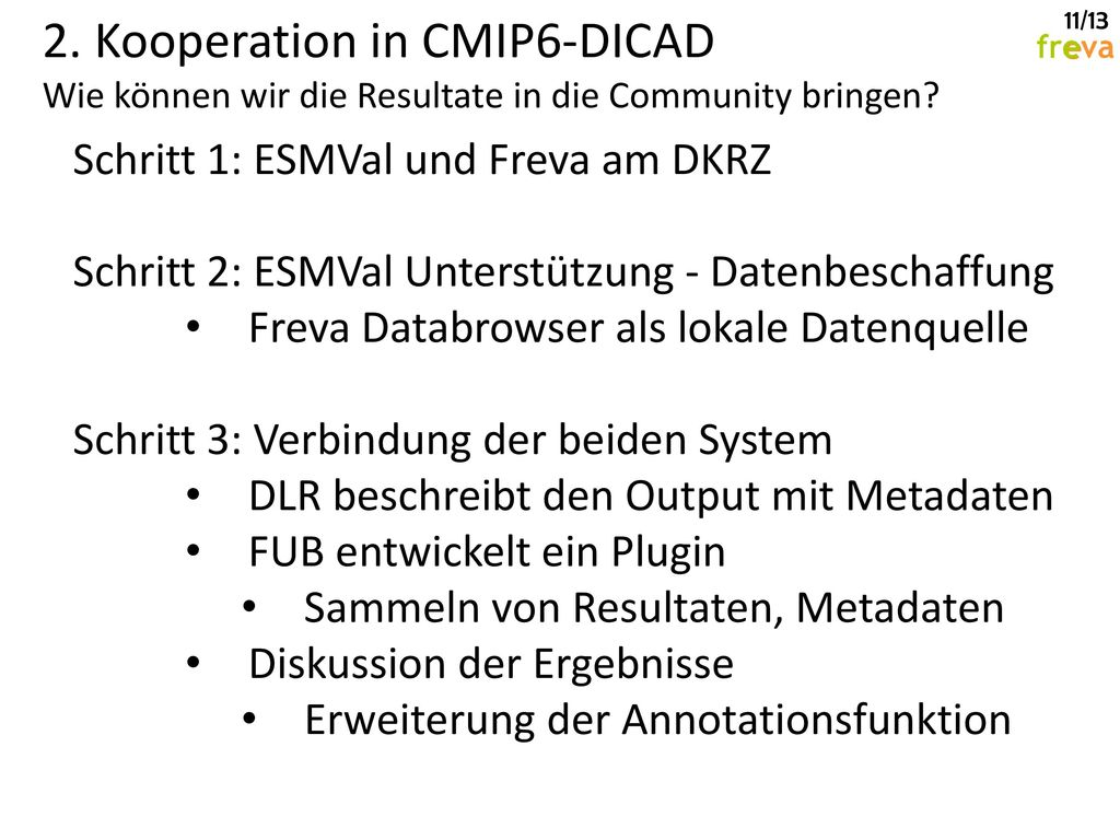 2. Kooperation in CMIP6-DICAD