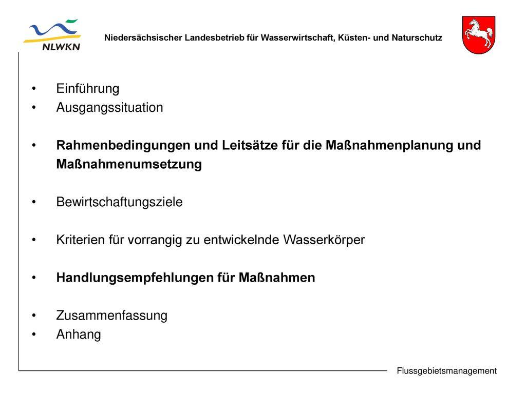 Rahmenbedingungen und Leitsätze für die Maßnahmenplanung und