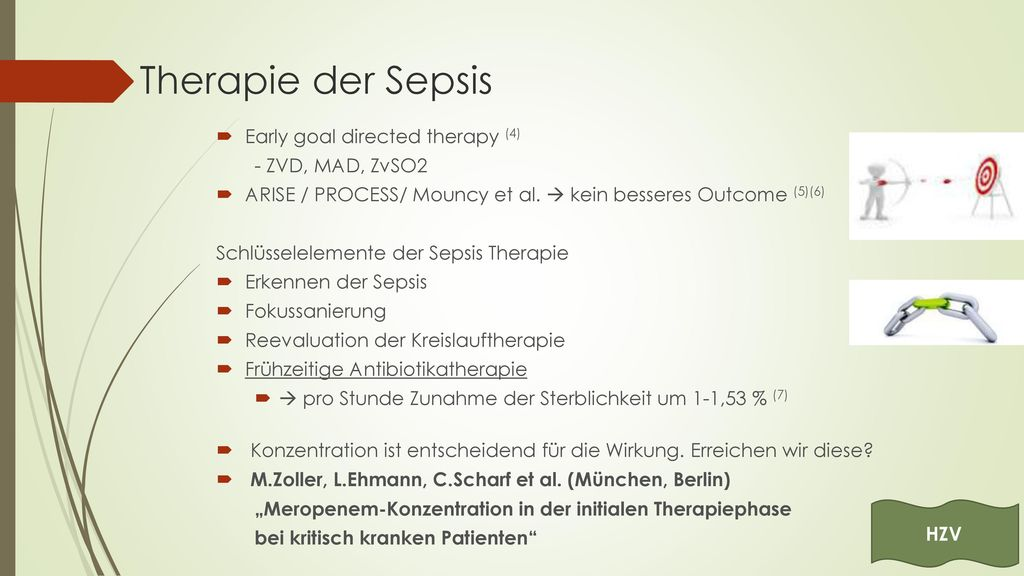 Therapie der Sepsis Early goal directed therapy (4) - ZVD, MAD, ZvSO2