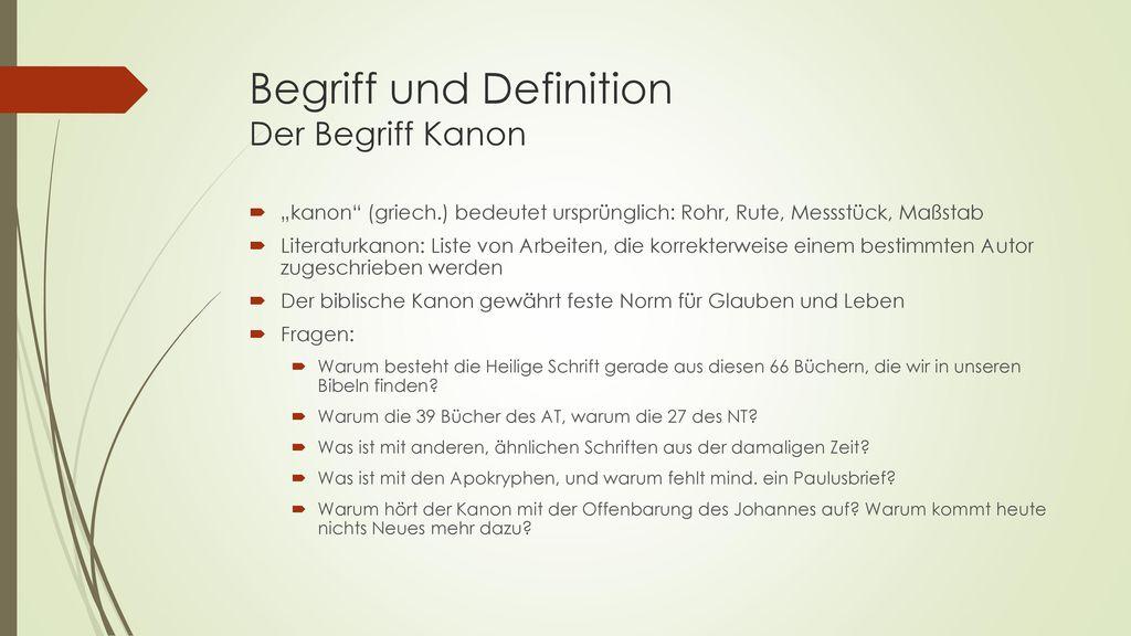 Begriff und Definition Der Begriff Kanon