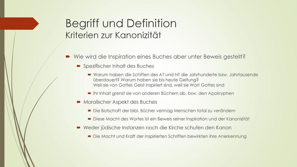 Begriff und Definition Kriterien zur Kanonizität