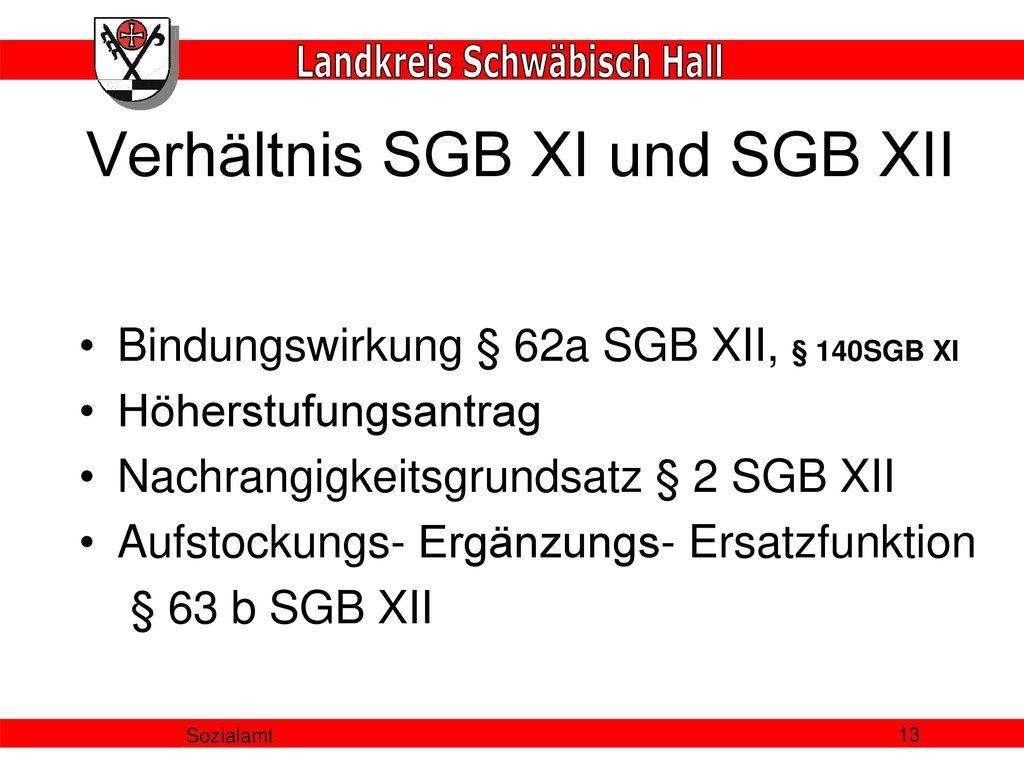 Verhältnis SGB XI und SGB XII