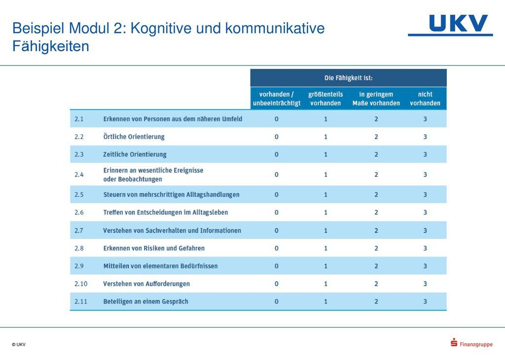 Beispiel Modul 2: Kognitive und kommunikative Fähigkeiten