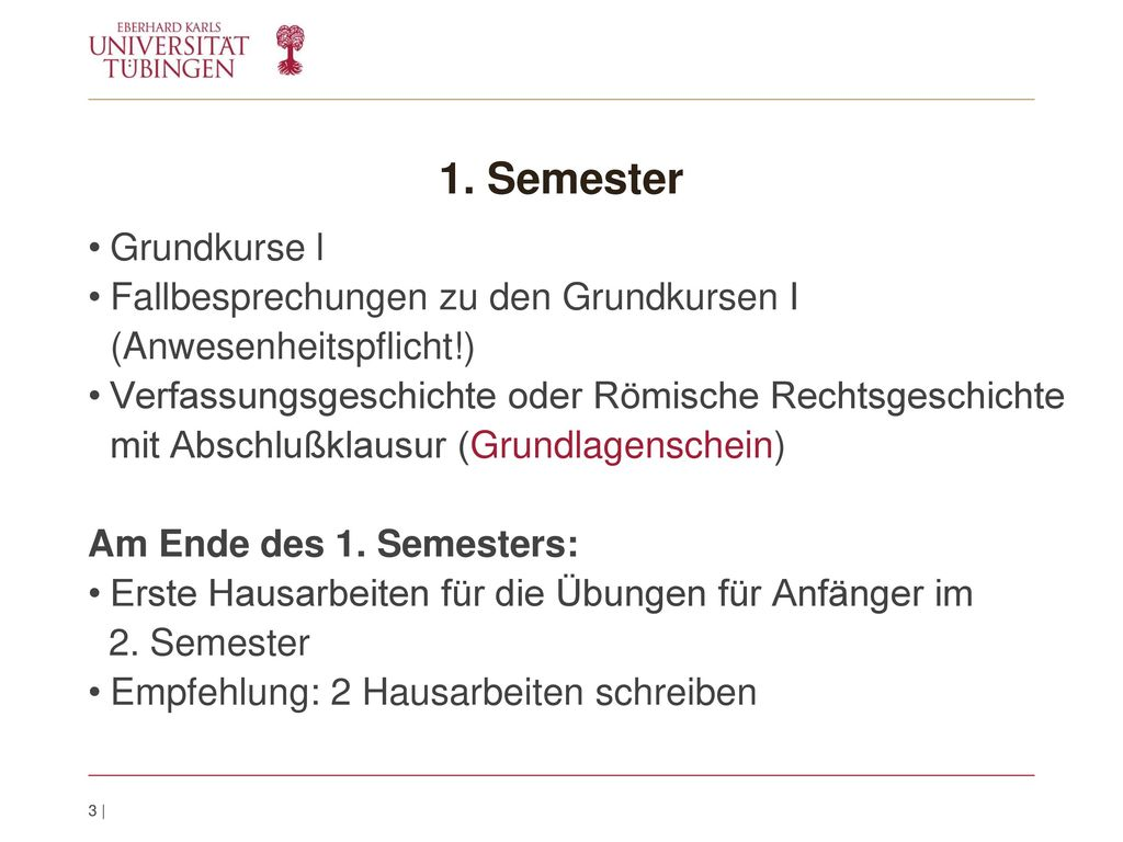 1. Semester Grundkurse l. Fallbesprechungen zu den Grundkursen I (Anwesenheitspflicht!)