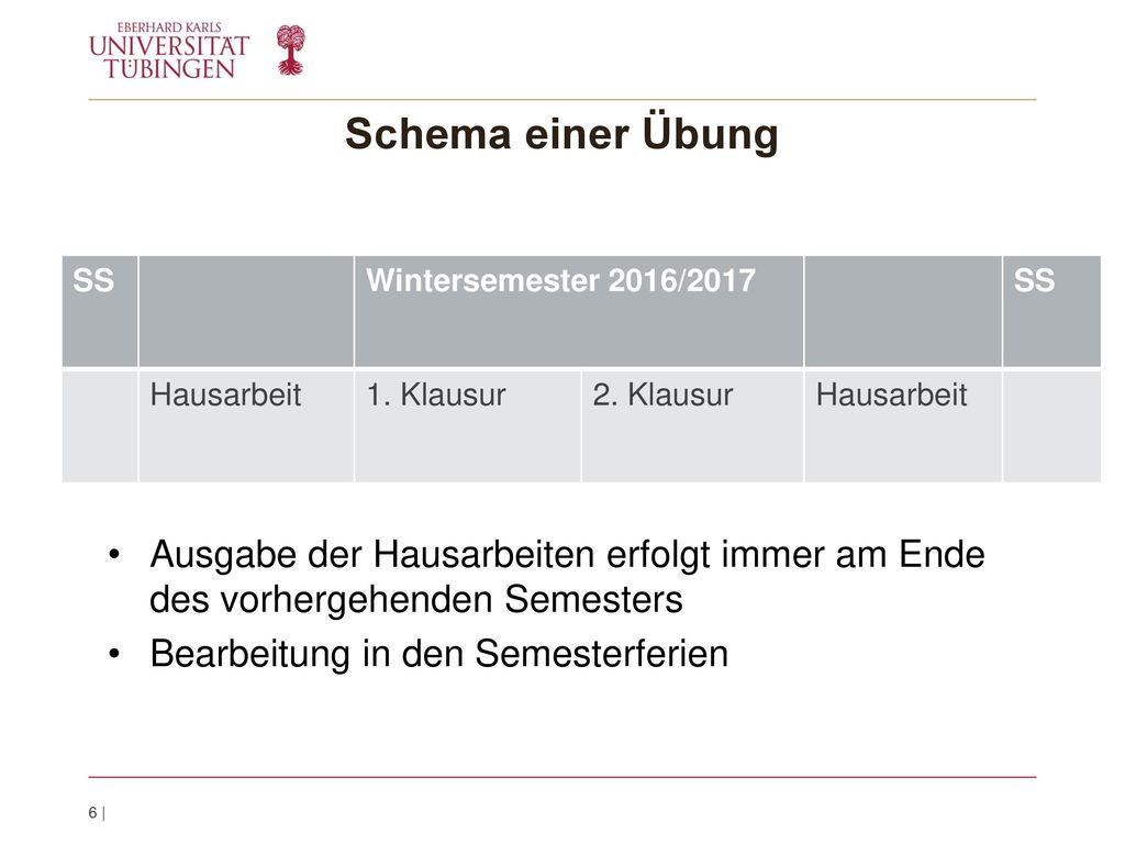 Schema einer Übung SS. Wintersemester 2016/2017. Hausarbeit. 1. Klausur. 2. Klausur.