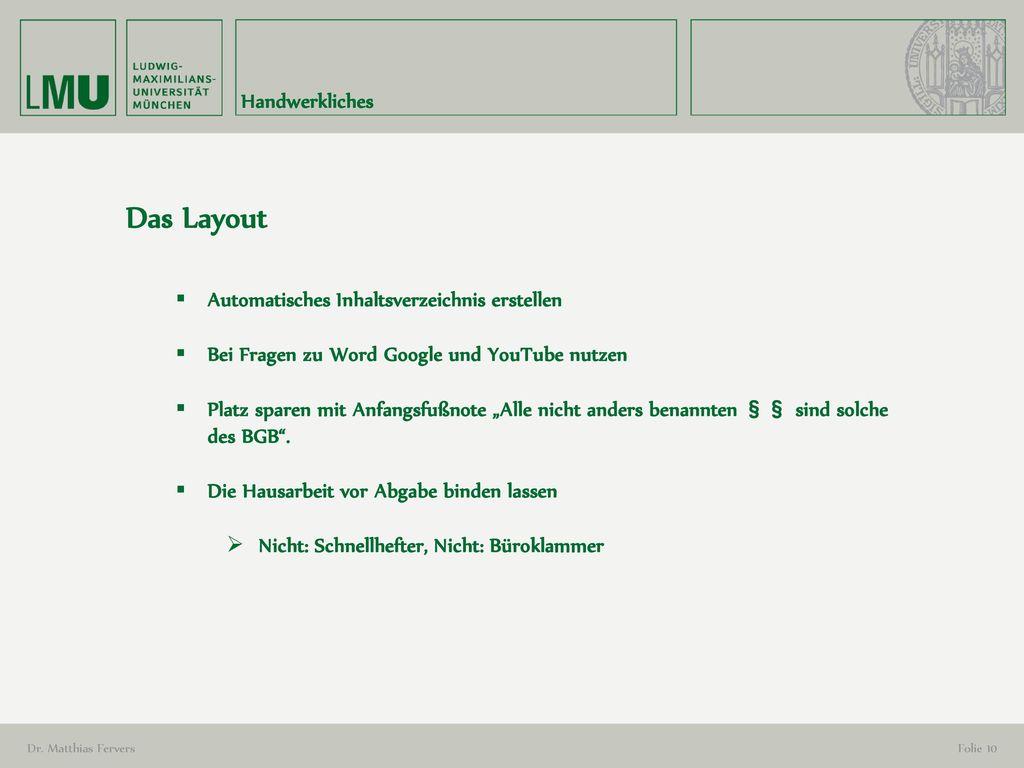 Das Layout Handwerkliches Automatisches Inhaltsverzeichnis erstellen