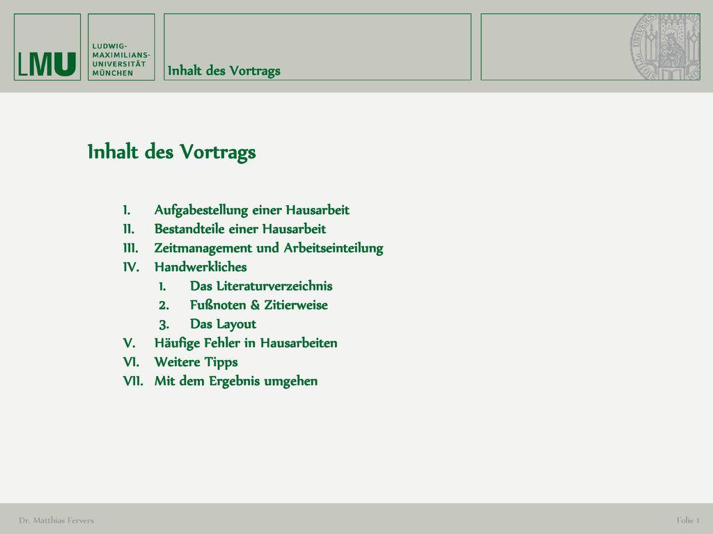 Inhalt des Vortrags Inhalt des Vortrags
