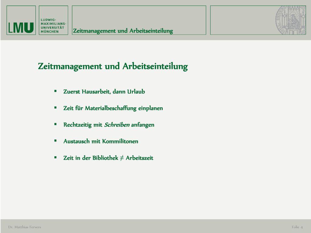 Zeitmanagement und Arbeitseinteilung