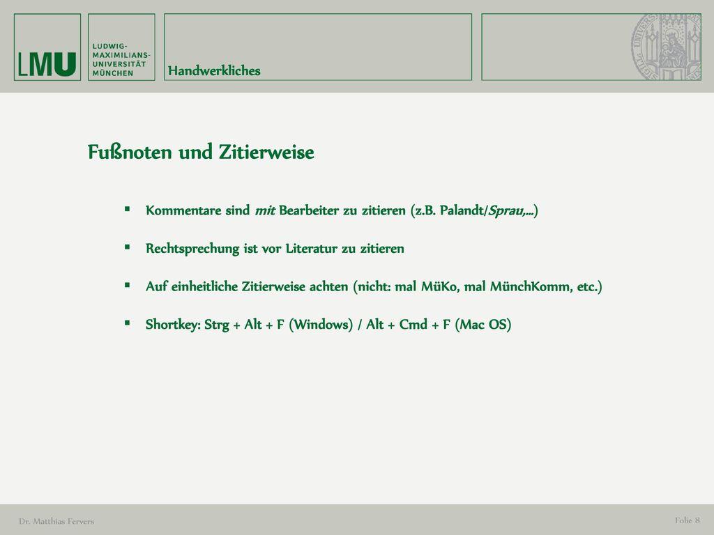 Fußnoten und Zitierweise