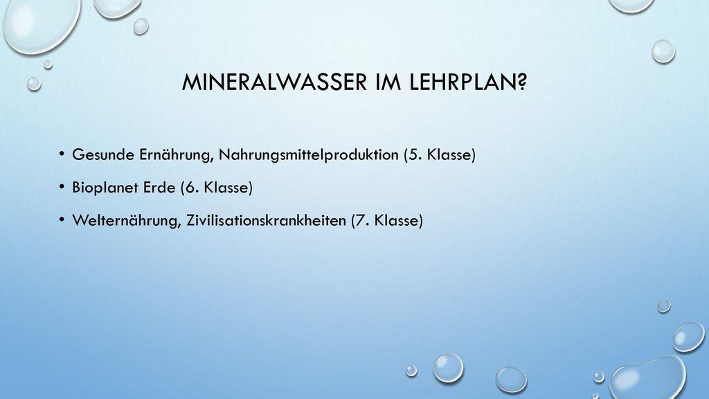 Mineralwasser im lehrplan