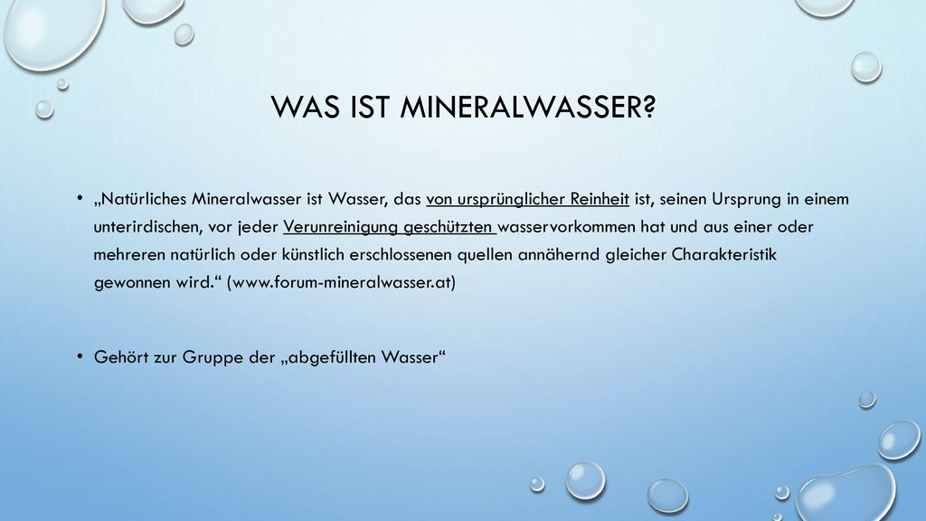 Was ist Mineralwasser