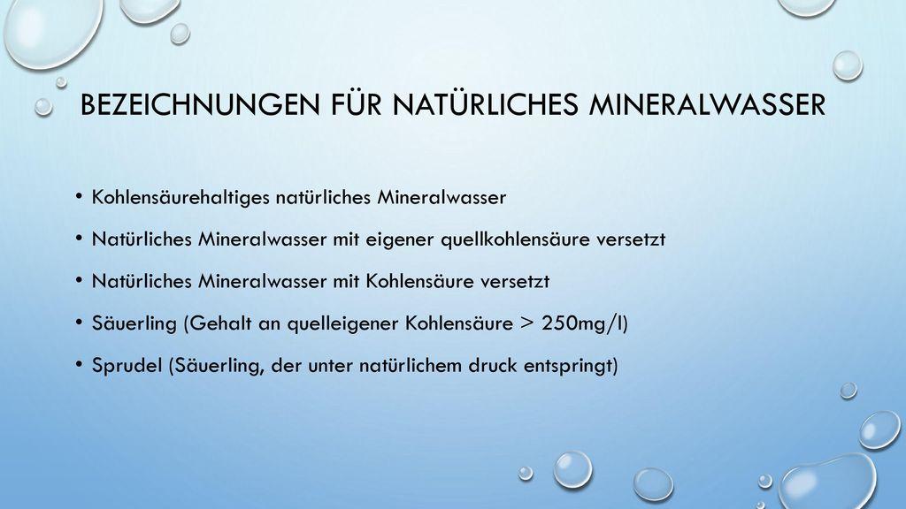Bezeichnungen für natürliches Mineralwasser