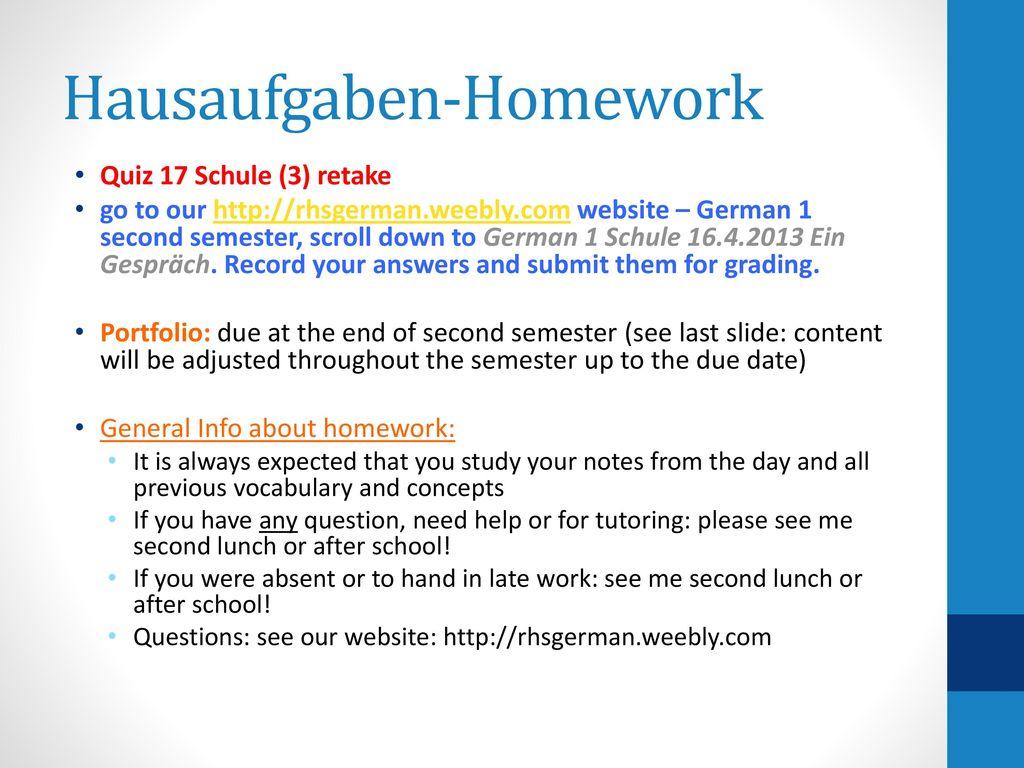 Hausaufgaben-Homework