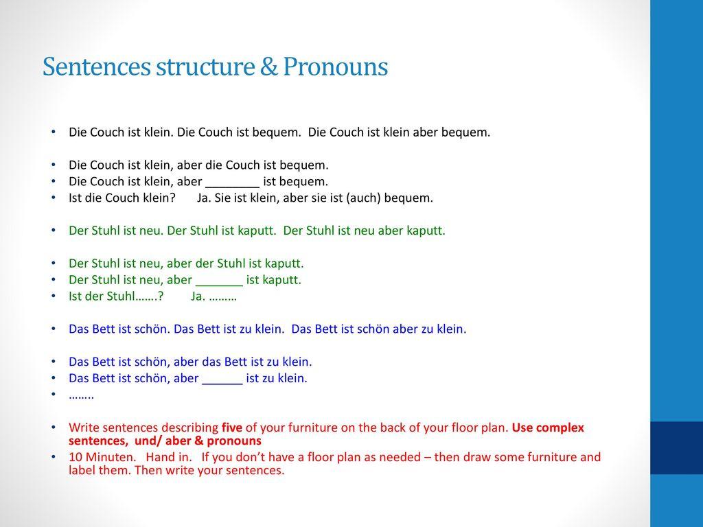 Sentences structure & Pronouns