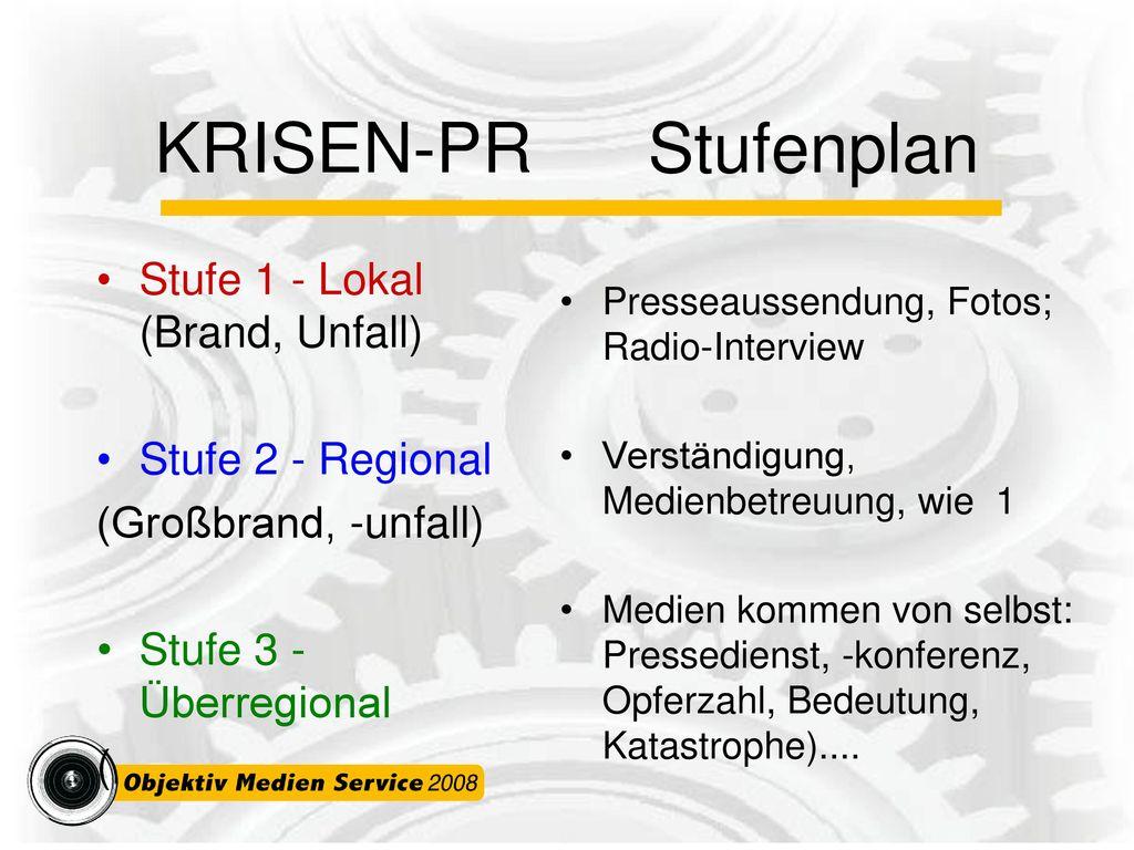 KRISEN-PR Stufenplan Stufe 1 - Lokal (Brand, Unfall)