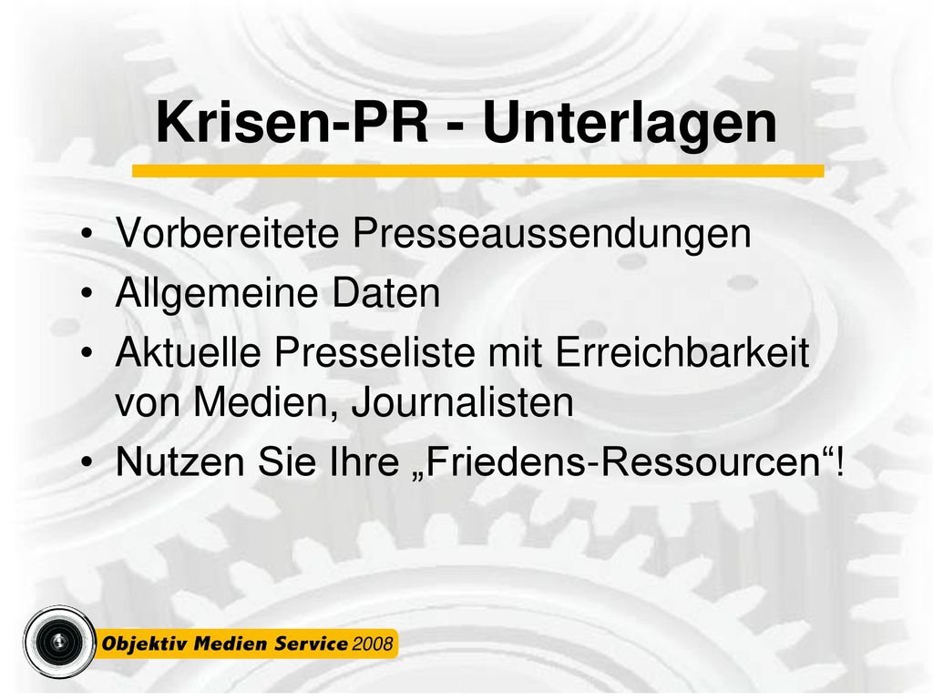 Krisen-PR - Unterlagen