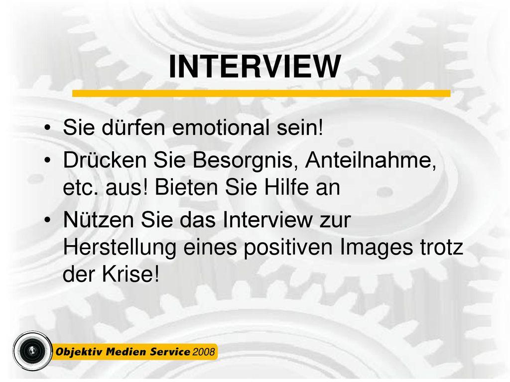 INTERVIEW Sie dürfen emotional sein!