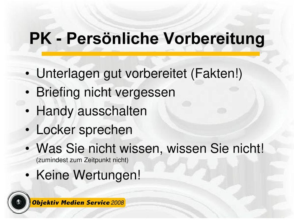 PK - Persönliche Vorbereitung