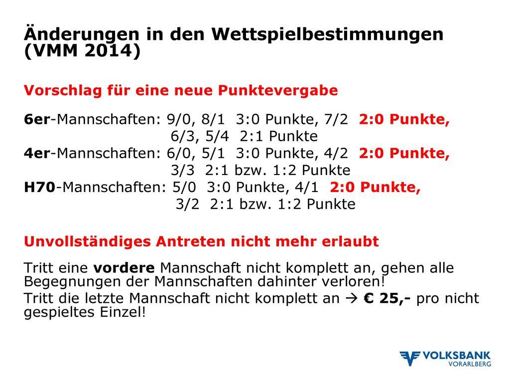 Änderungen in den Wettspielbestimmungen (VMM 2014)