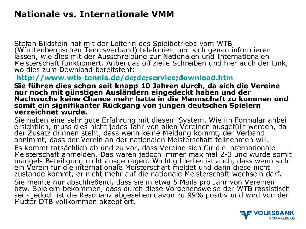 Nationale vs. Internationale VMM